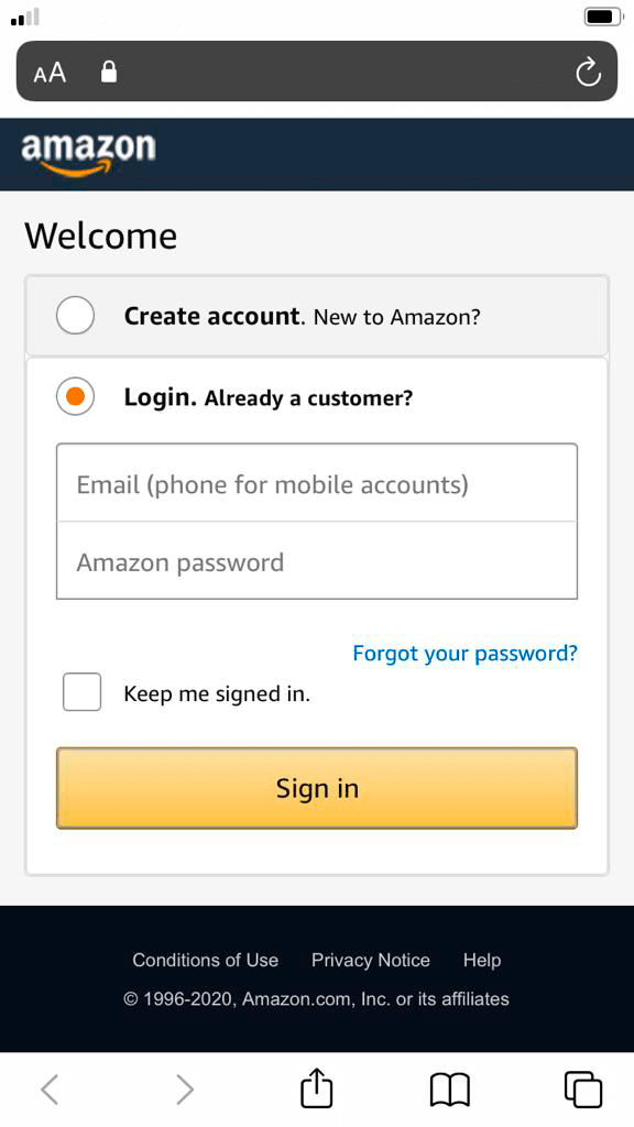 login fake amazon