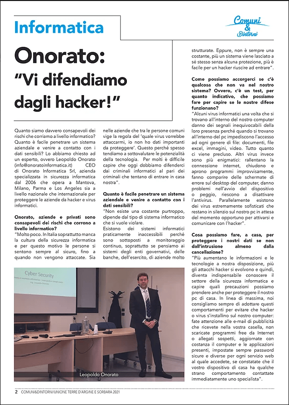 Intervista cybersecurity Leopoldo Onorato